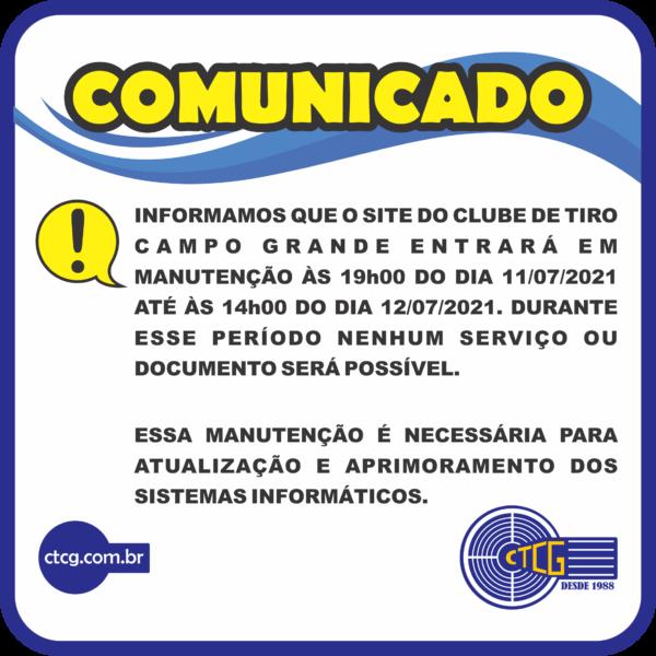 Aviso manutenção Site-CTCG